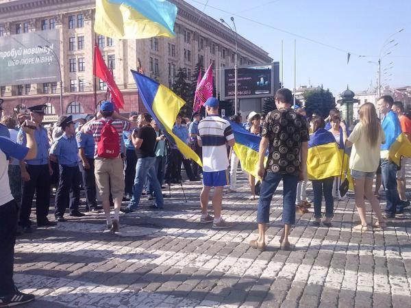 Kharkov. Communists and South-East rally on Freedom square. Patriots came this action to stop