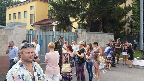 Rally near Lviv military unit