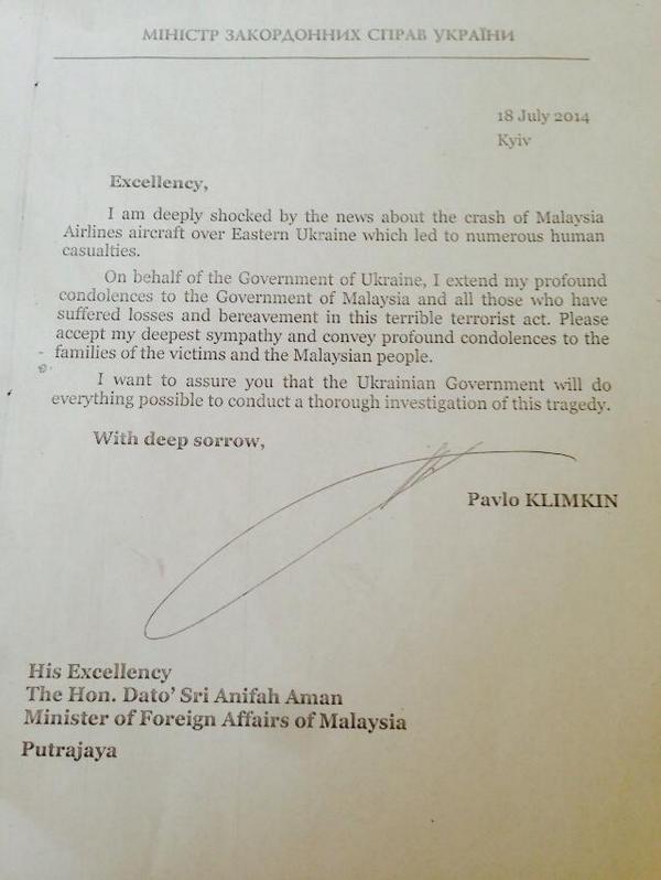 Ukrainian FM @PavloKlimkin to Malaysia MH17 boeing777