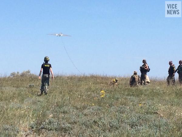 Ukraine's Donbas Battalion launches a spy drone over rebel positions