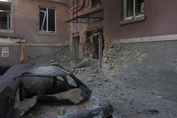 The aftermath of Russian artillery attack on Luhansk