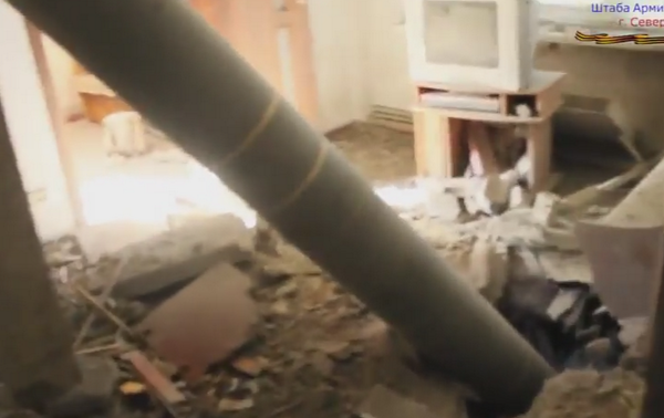 Unexploded missile in living room in Lysyhans'k
