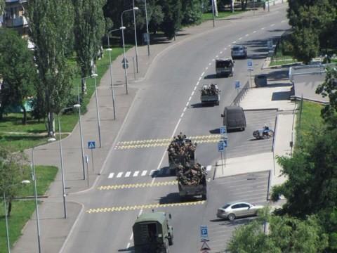 Militants convoy in Donetsk