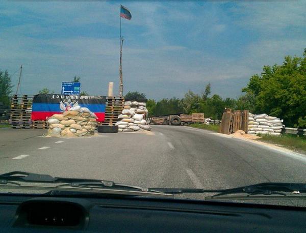 Abandoned blokpost on Highway Donetsk-Horlivka