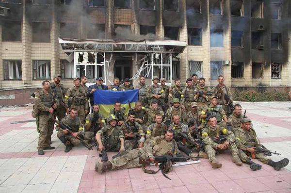 Ukrainian troops in Dzerzhinsk