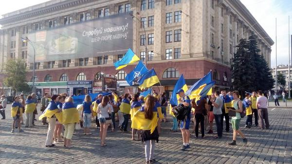 Activists hold a rally in Kharkiv against war and public republics