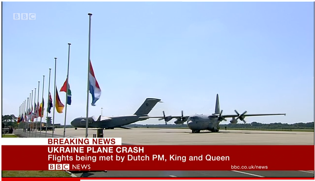 First plane carrying remains of MH17 crash victims lands in Eindhoven, Netherlands