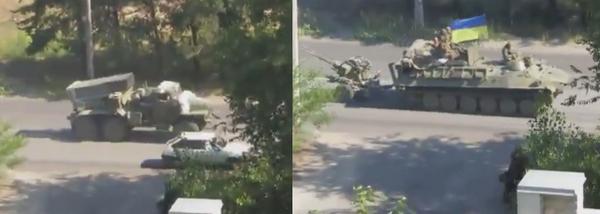 A large Ukrainian army convoy passes Severodonets'k