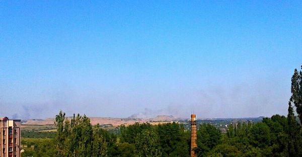 Smoke over Yasynuvata and Donetsk airport
