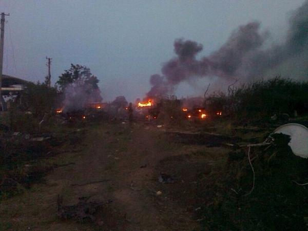 The result of shelling of the Border Checkpoint Dovzhansky from the territory of Russia