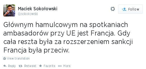 Polska reporter from Brussels: It's France who is blocking sectoral sanctions against Russia