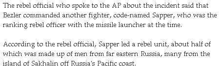AP: Putin terrorist unit that shot down MH17 contained 50% men from Sakhalin, Russia