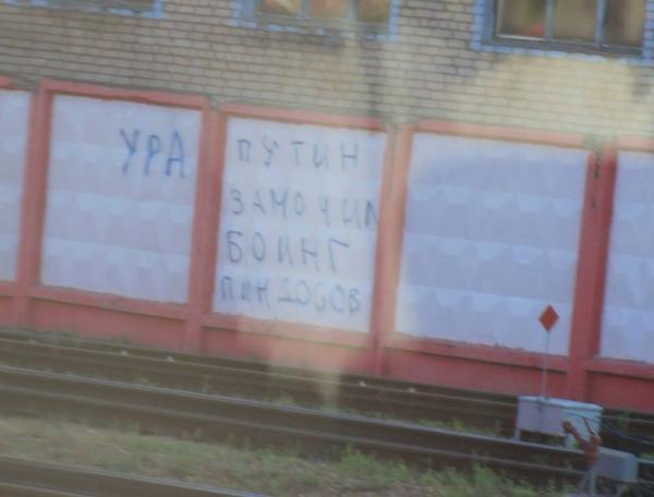 Graffiti near Shermetyevo Hurrah! Putin has shot down yankees plane