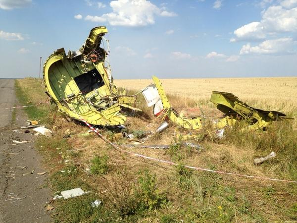 MH17 crash site near Hrabovo today. No rebels around, completely deserted