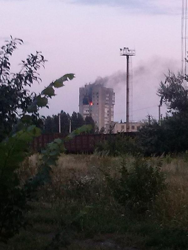Shakhtarsk one more apartment building is burning