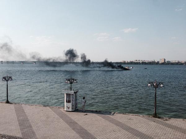Fire destroys boat Dnipropetrovsk