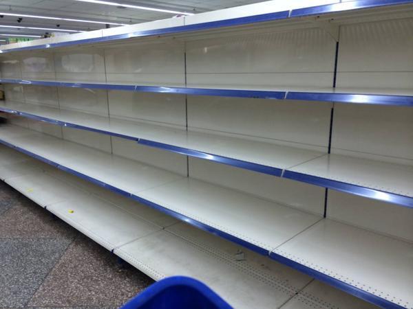 Empty shelves in Donetsk stores