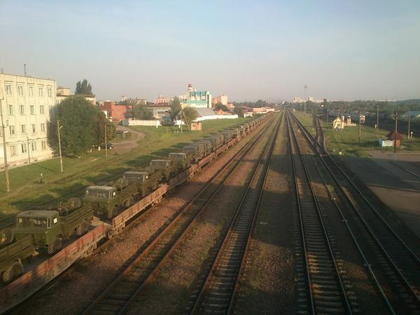 Military vehicles in Gomel
