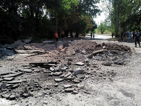 The consequences of yesterday's bombardment in Donetsk