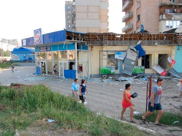 Shells hit an ATB supermarket and a high-building in a residential area of Donetsk