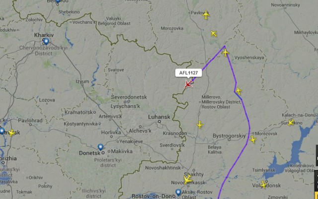 Russian Airflot flight afl1127 suddenly change its route from Moscow to Luhansk, and dissapeared