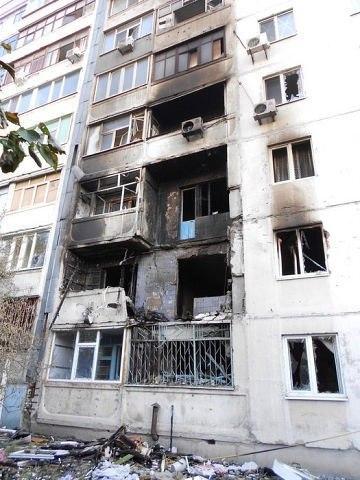 Burnt residential house in Luhansk