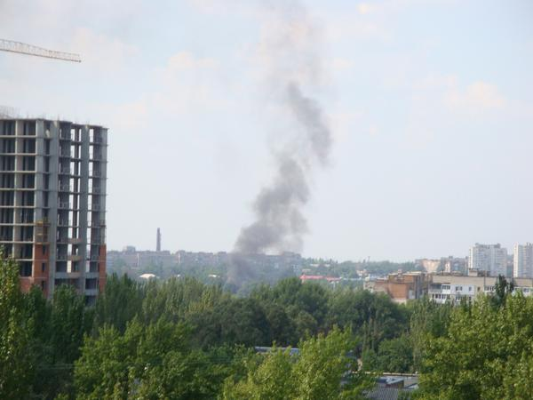 Smoke rise after bombardment in Donetsk