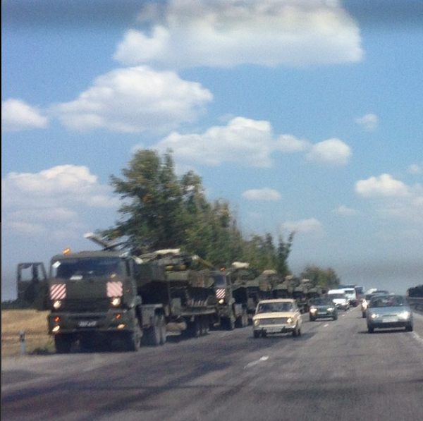 Russian vehicles 70 km from Rostov-on-Don