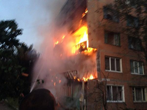 Fire in Horlivka today