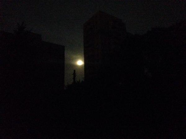 Supermoon is the only  source of light in Donetsk tonight
