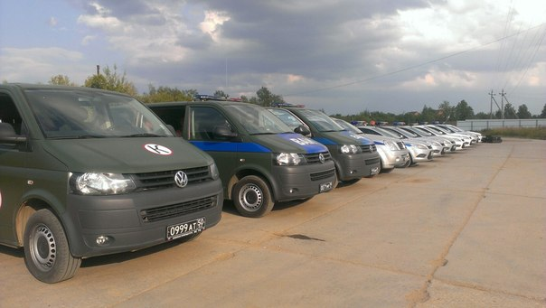 Support cars of Russian Humanitarian aid trucks