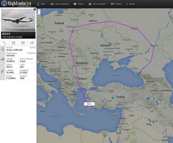 President's of Egypt jet route from Sochi to Egypt
