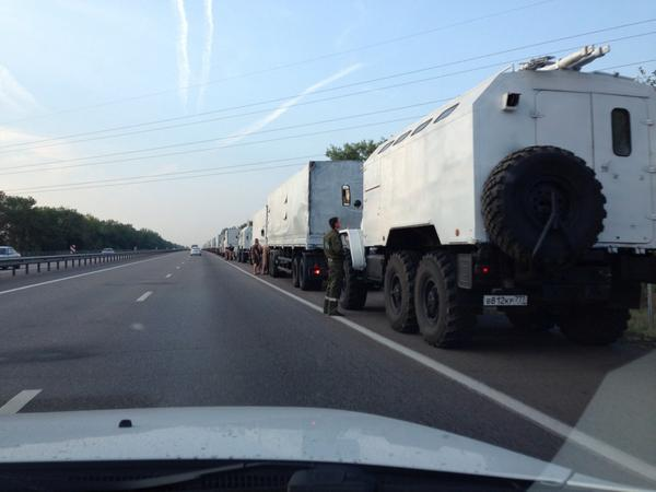 Dozens of Russia's convoy trucks heading south on the Rostov road.