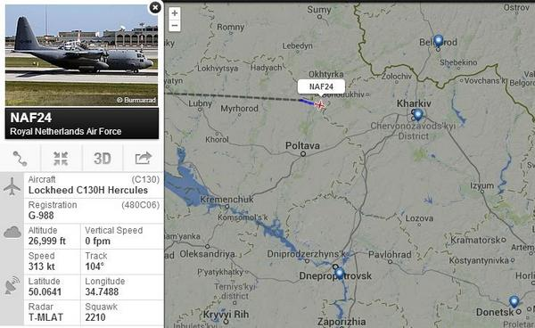 Royal Netherlands Air Force Lockheed C130H Hercules is on its way to Kharkiv