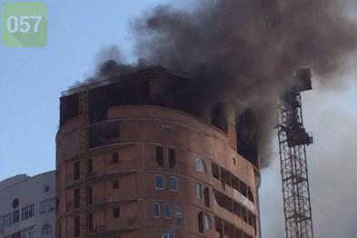 High-rise underconstruction building  was burning In Kharkiv