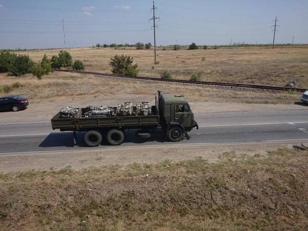 Military KAMAZ truck carry some engines
