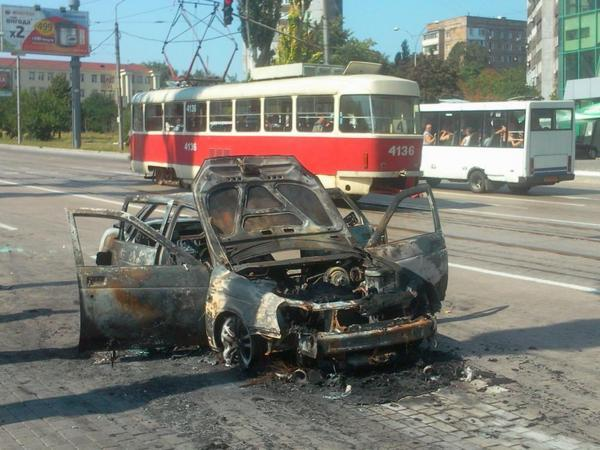 Burned car in Donetsk