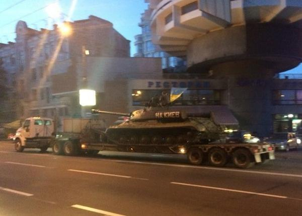WWII Soviet tank, used by terrorists with their sign Go to Kyiv!, was delivered to Kyiv war museum