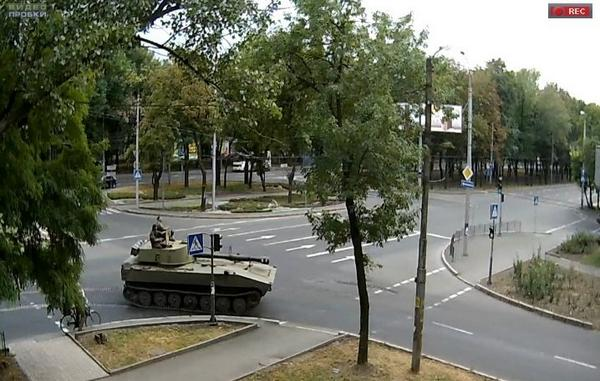 Self-propelled artillery, trucks and APCs in Donetsk