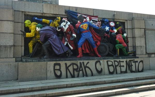 Russia demands Bulgarians stop painting Soviet monuments as Super heroes