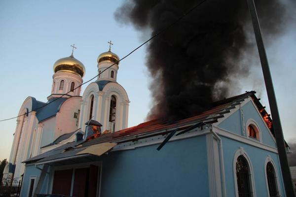 Russian militants shelling Luhansk