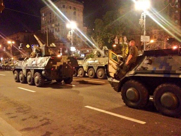 Parade preparations in central Kyiv for Independence Day of Ukraine Aug 24 - military vehicles at Maidan