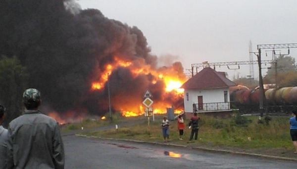 In Cherkasy region after the train crush, the fire had spread to residential arra