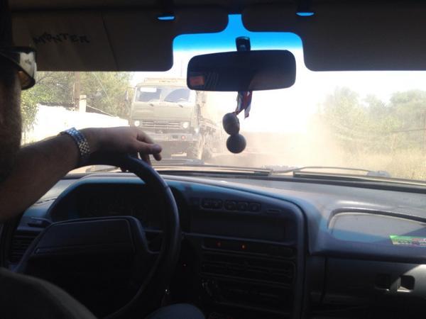 Green Russian trucks in Krasnodon