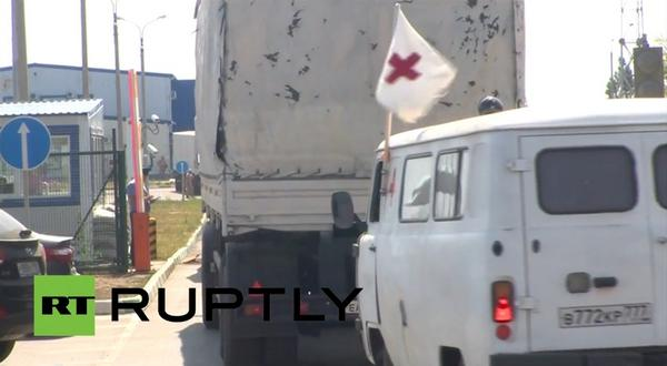 Russia illegally using Red Cross emblem on its humanitarian aid convoy while entering Ukraine