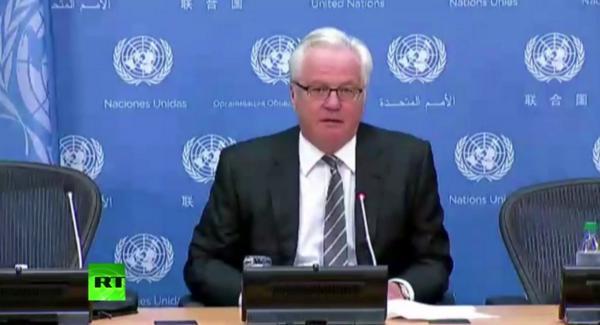 Russia's permanent representative to the UN Vitaly Churkin holds a press conference