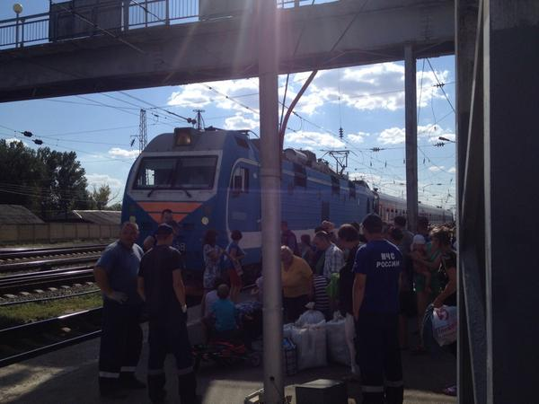 Ukrainian refugees prepare to board the train to Ufa. Most arrived in Russia in the last several days.