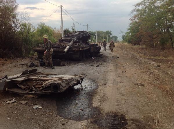 Russian militants tank In Illovaysk