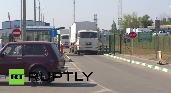 The first trucks of the convoy's return to Russia