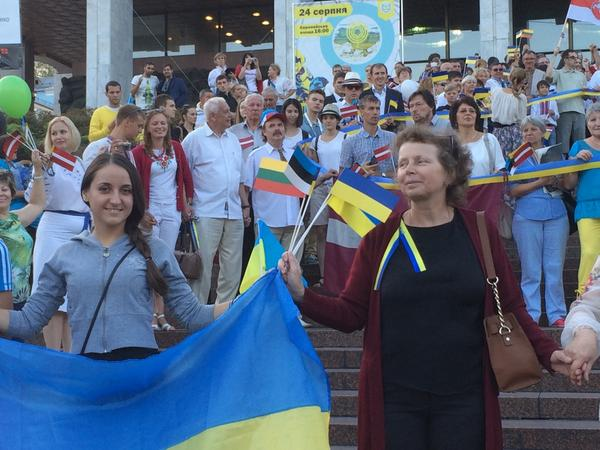 A Chain of Unity in Kyiv: celebrating 25th anniv of Baltic way with Lithuania, Latvia, Estonia